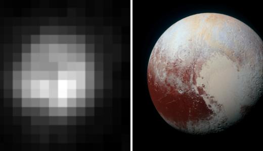 冥王星【左】1994年ハッブル宇宙望遠鏡、【右】2015年NASAニューホライズンズ宇宙船から撮影